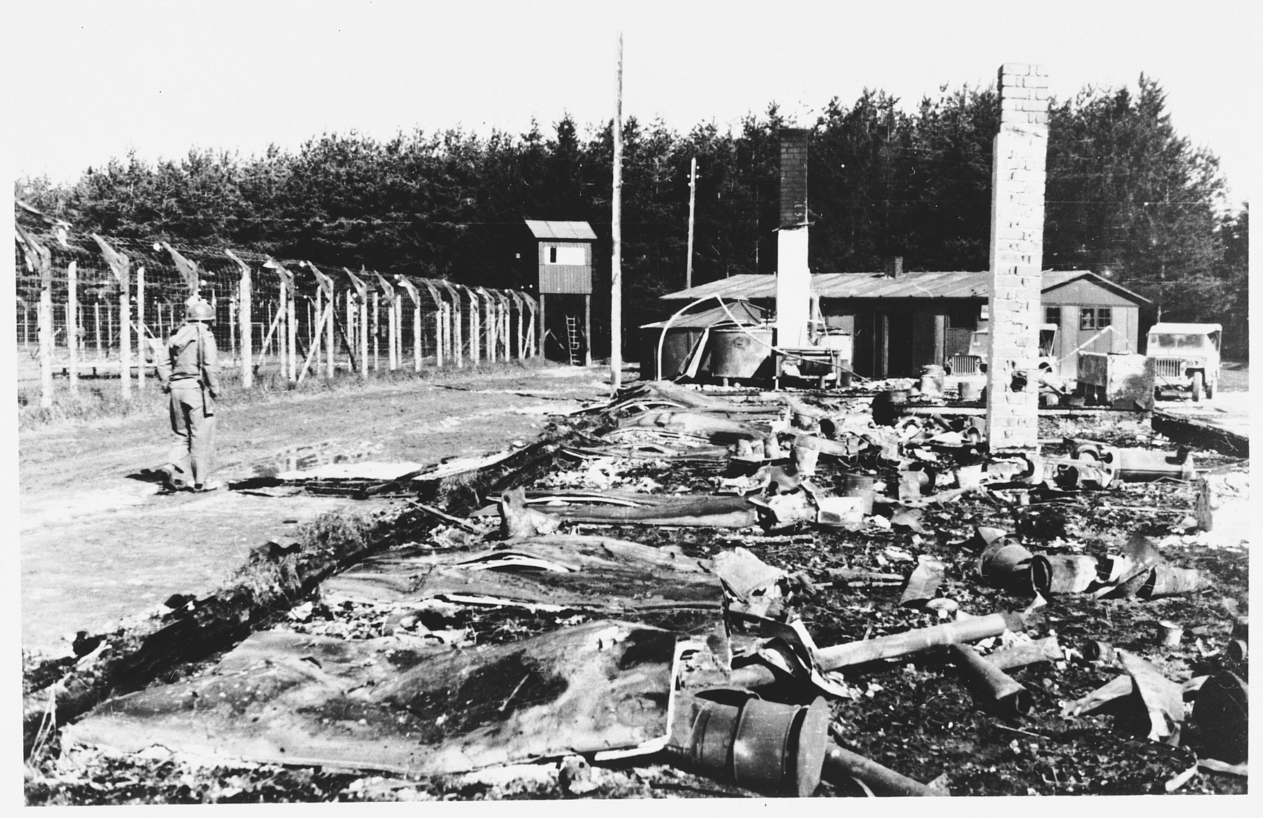 View of the ruins of a barracks in the Hurlach concentration camp that was razed by the SS before the evacuation of the camp.
