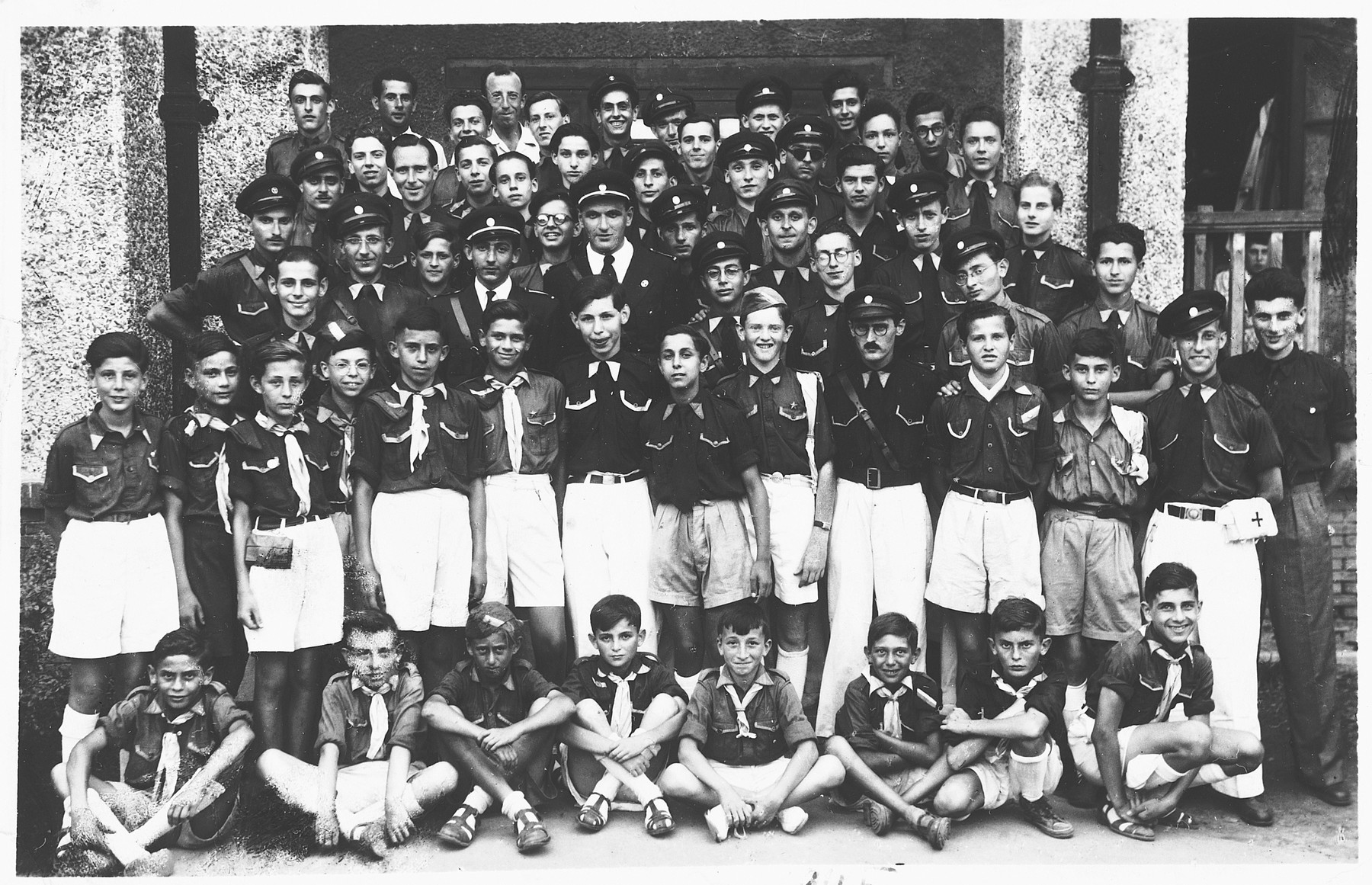 Group portrait of members of the Beit Trumpeldor Zionist youth movement.