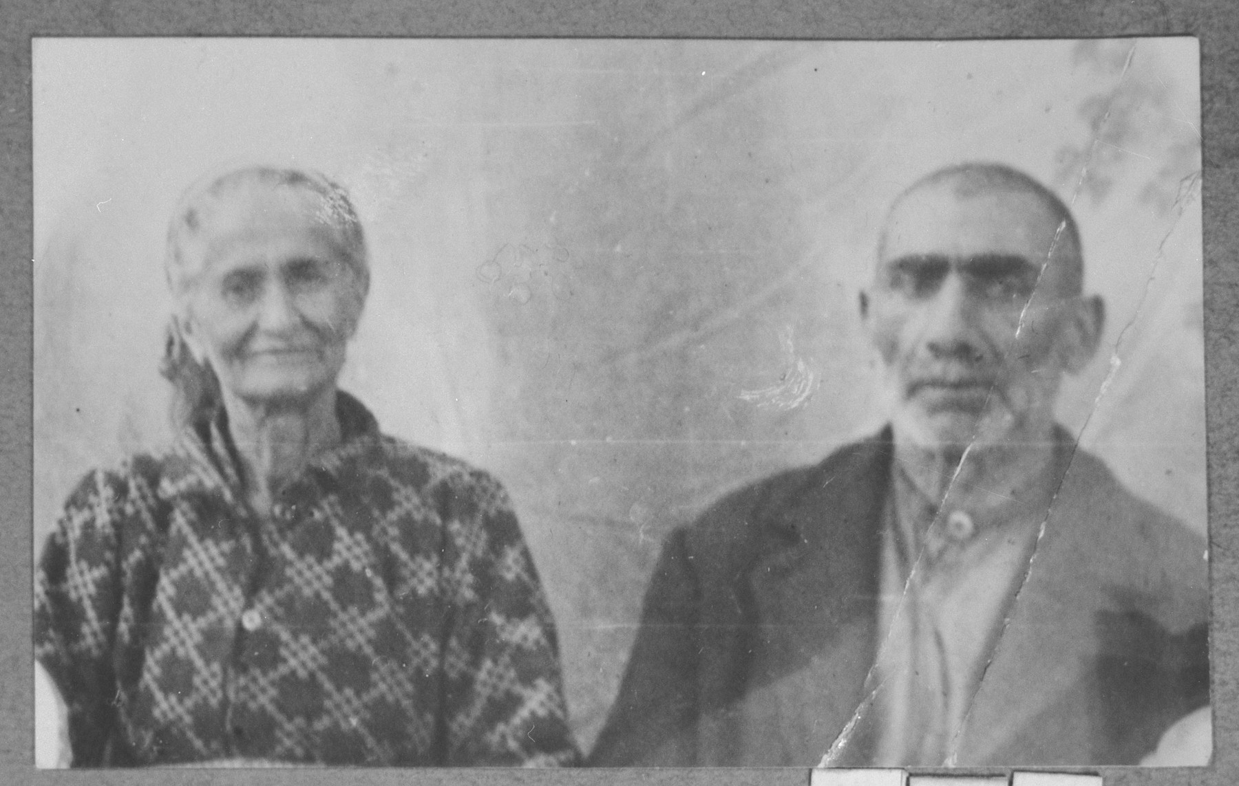 Portrait of Yakov Ovadia and his wife, Reina.  Yakov was a sackmaker.  They lived at Krstitsa 13 in Bitola.