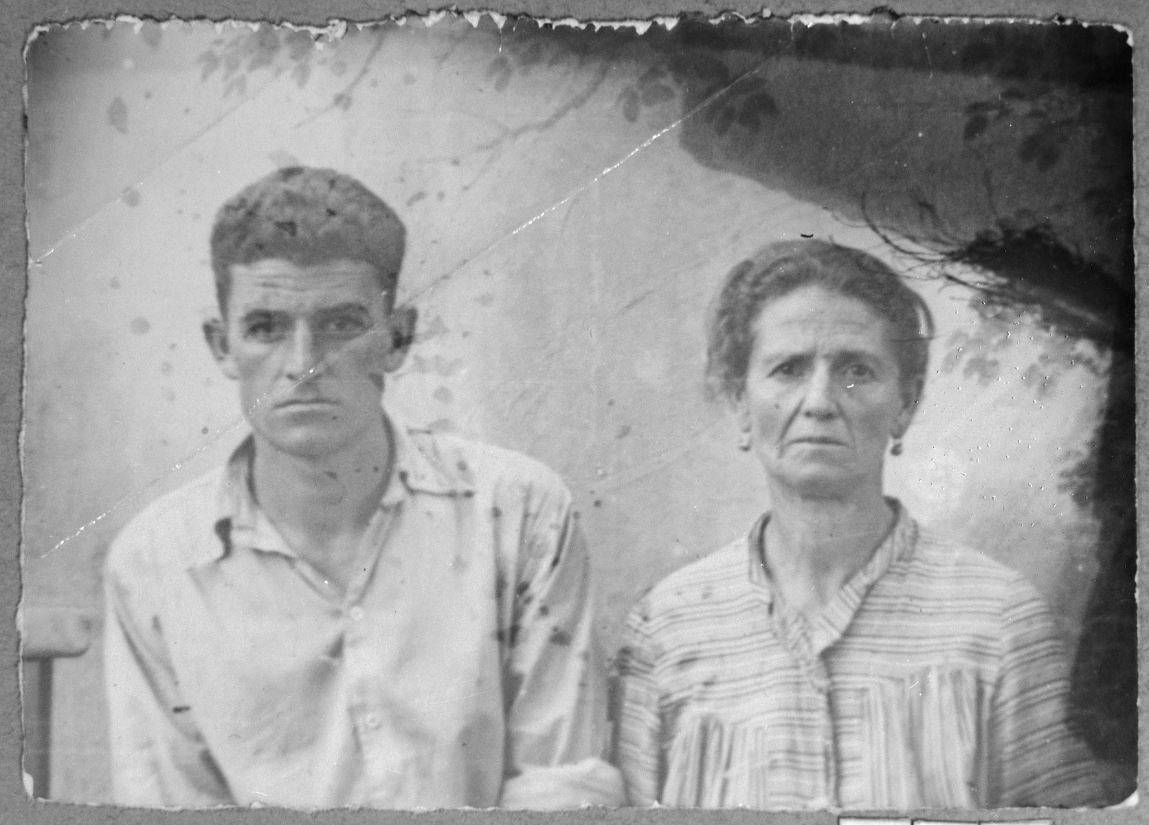 Portrait of Suncho Negri, wife of Daniel Negri, and David Negri, son of Daniel Negri.  Daniel was a student.  They lived at Avliya 13 in Bitola.