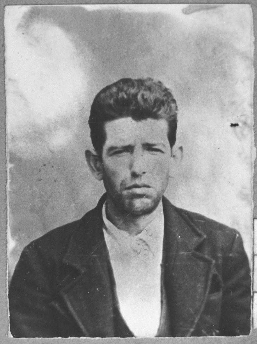 Portrait of Avram Pardo, son of Bohor Pardo.  He was a butcher.  He lived at Novatska 8 in Bitola.