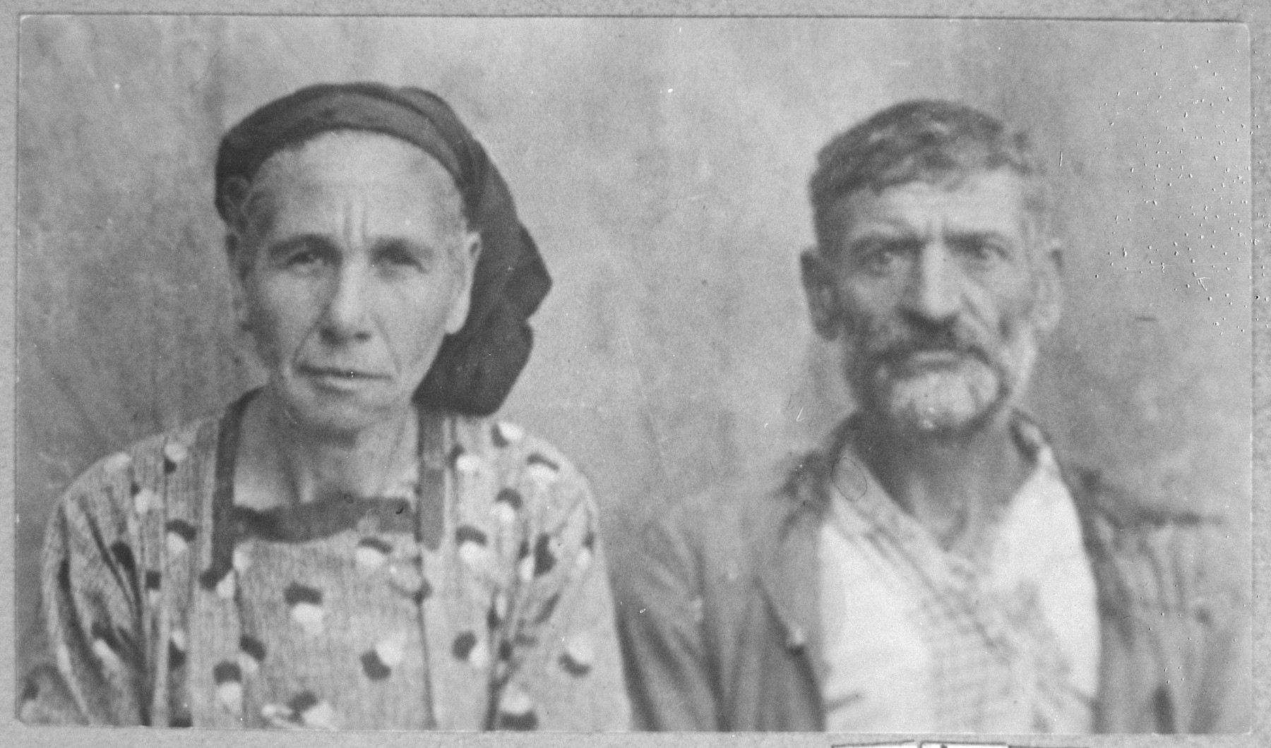Portrait of Eliau Ovadia and his wife, Ester.  Eliau was a porter and Ester, a laundress.  They lived at Putnika 141 in Bitola.