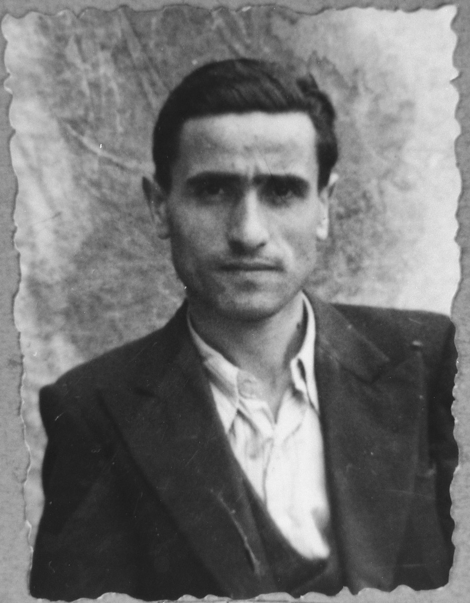 Portrait of Menachem Nissan, son of David Nissan.  He was a cafe owner.  He lived at Karagoryeva 89 in Bitola.