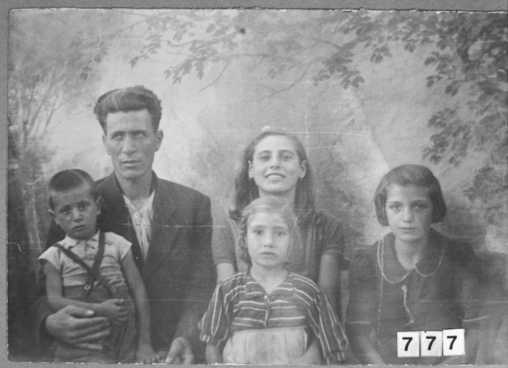 Portrait of Avram Ovadia and family.  He lived at Putnika 141 in Bitola.