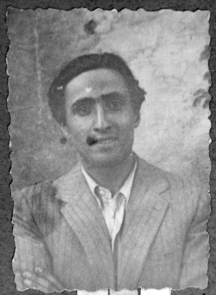 Portrait of Shabetai Nissan, son of David Nissan.  He was a coal dealer.  He lived at Karagoryeva 89 in Bitola.