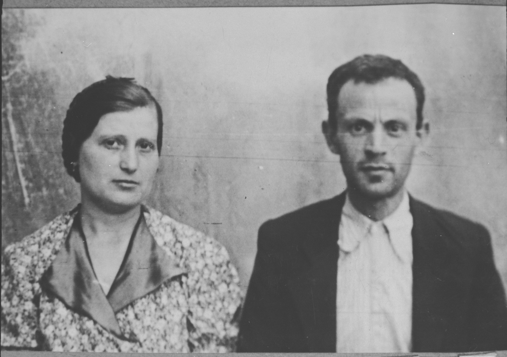 Portrait of Avram Ovadia and [his wife], Djana.  Avram was a rag dealer.  They lived at Asadbegova 22 in Bitola.