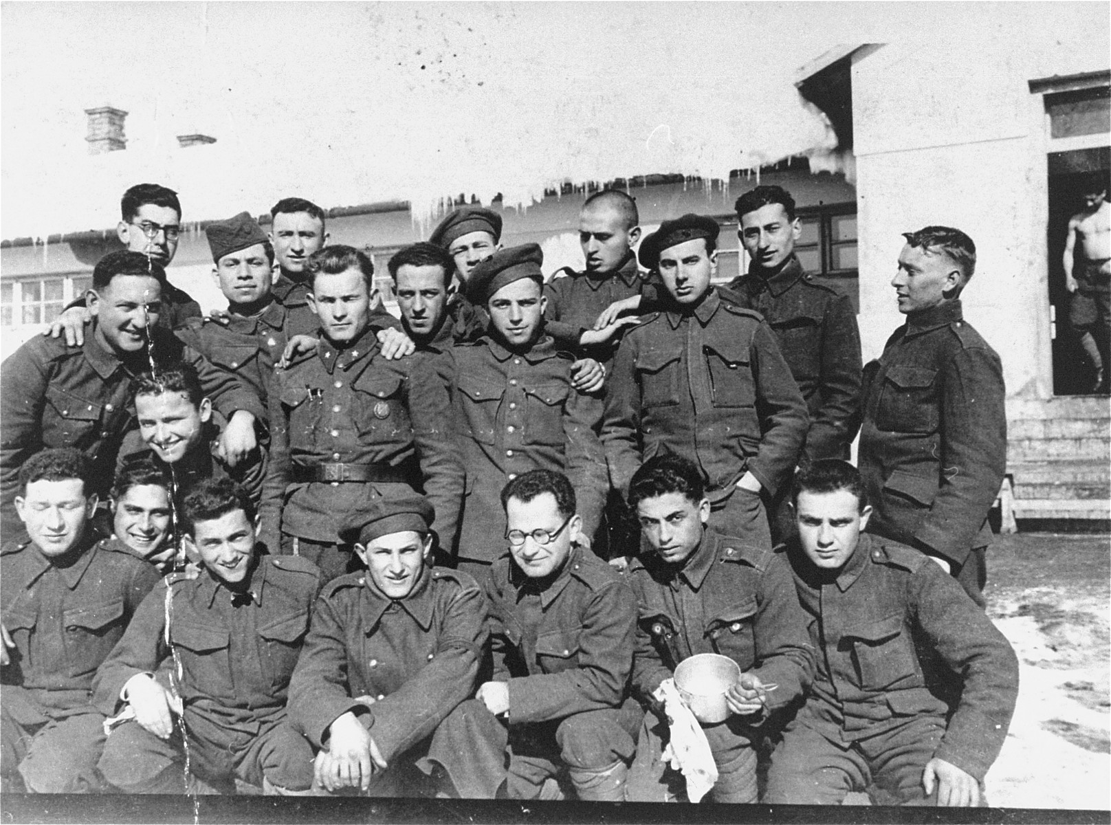 Group portrait of Jewish members of the Sixth Labor  Battalion (VI Prapor) at a Slovak labor camp.   Michael Diamond was this camp from 1939-1942.