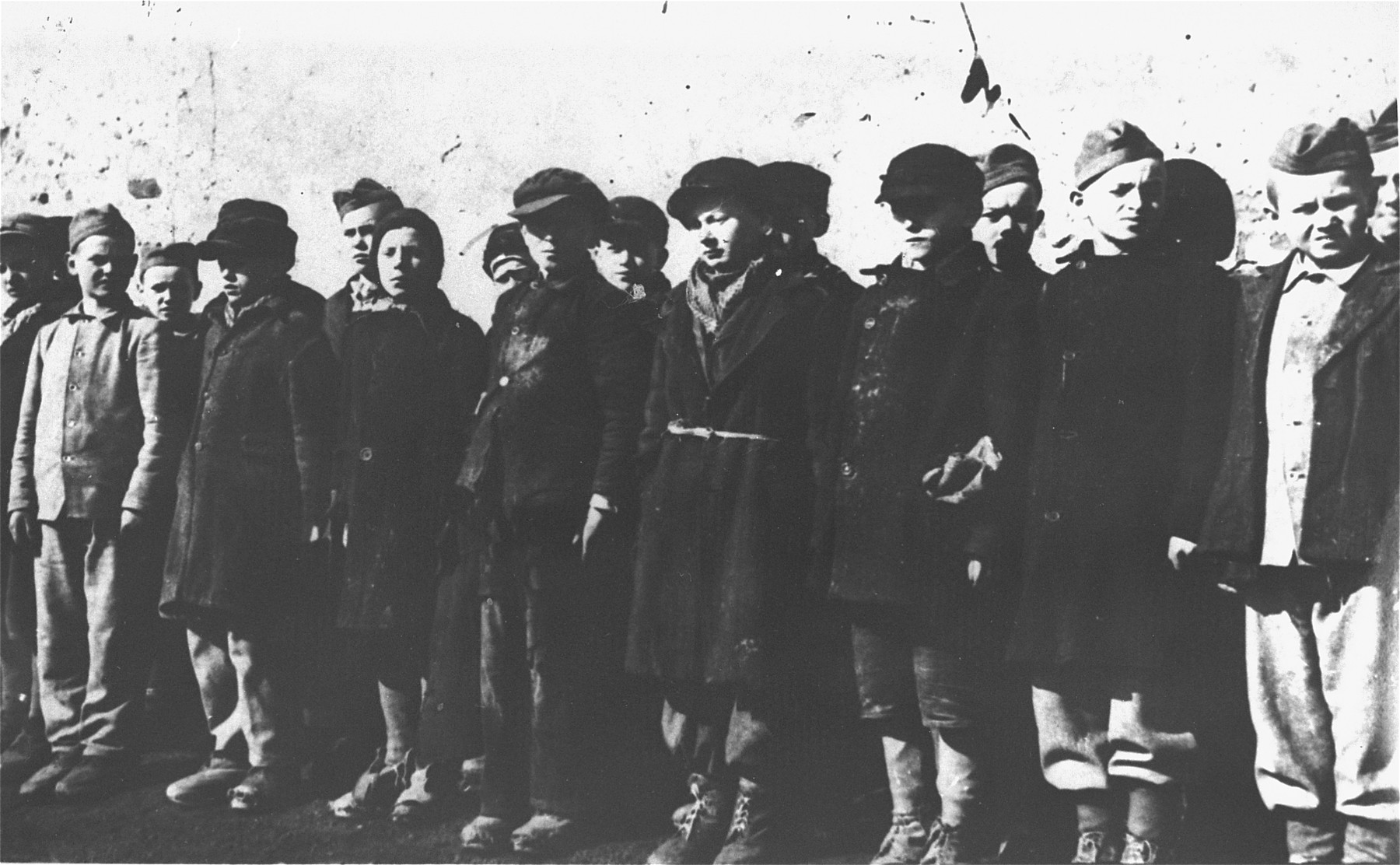 A group of Polish children during a roll call in the Jugendschutzlager Litzmannstadt.