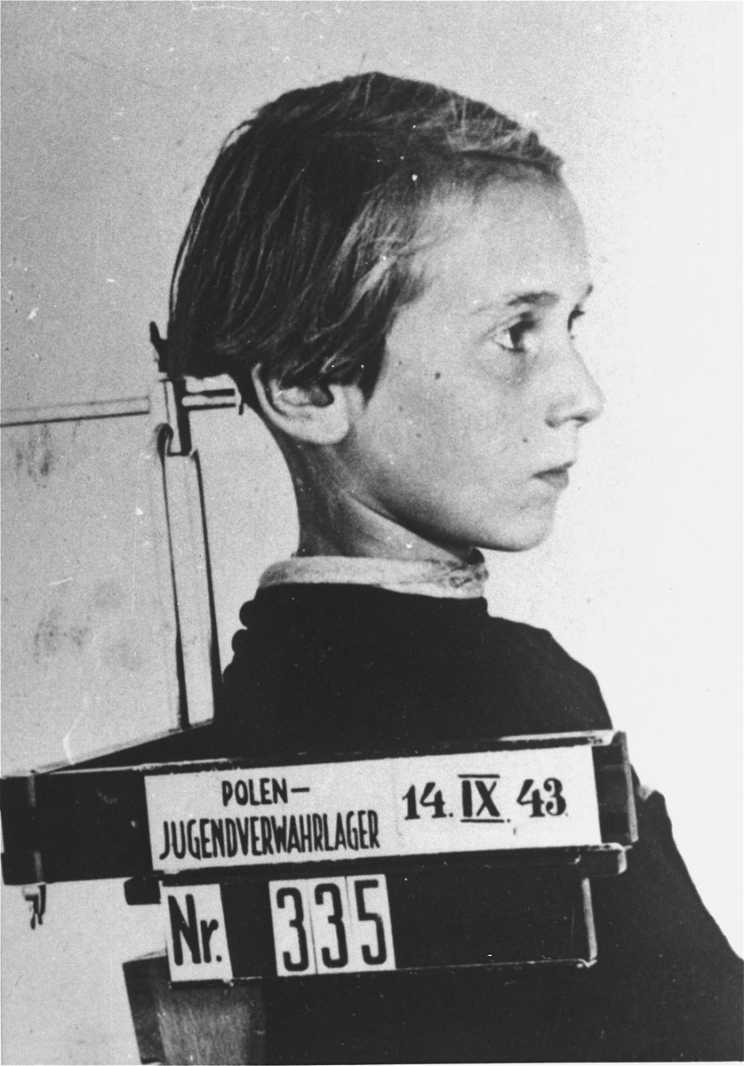 Mug shot of Elzbieta Konarska, a child prisoner in the Jugendschutzlager Litzmannstadt.