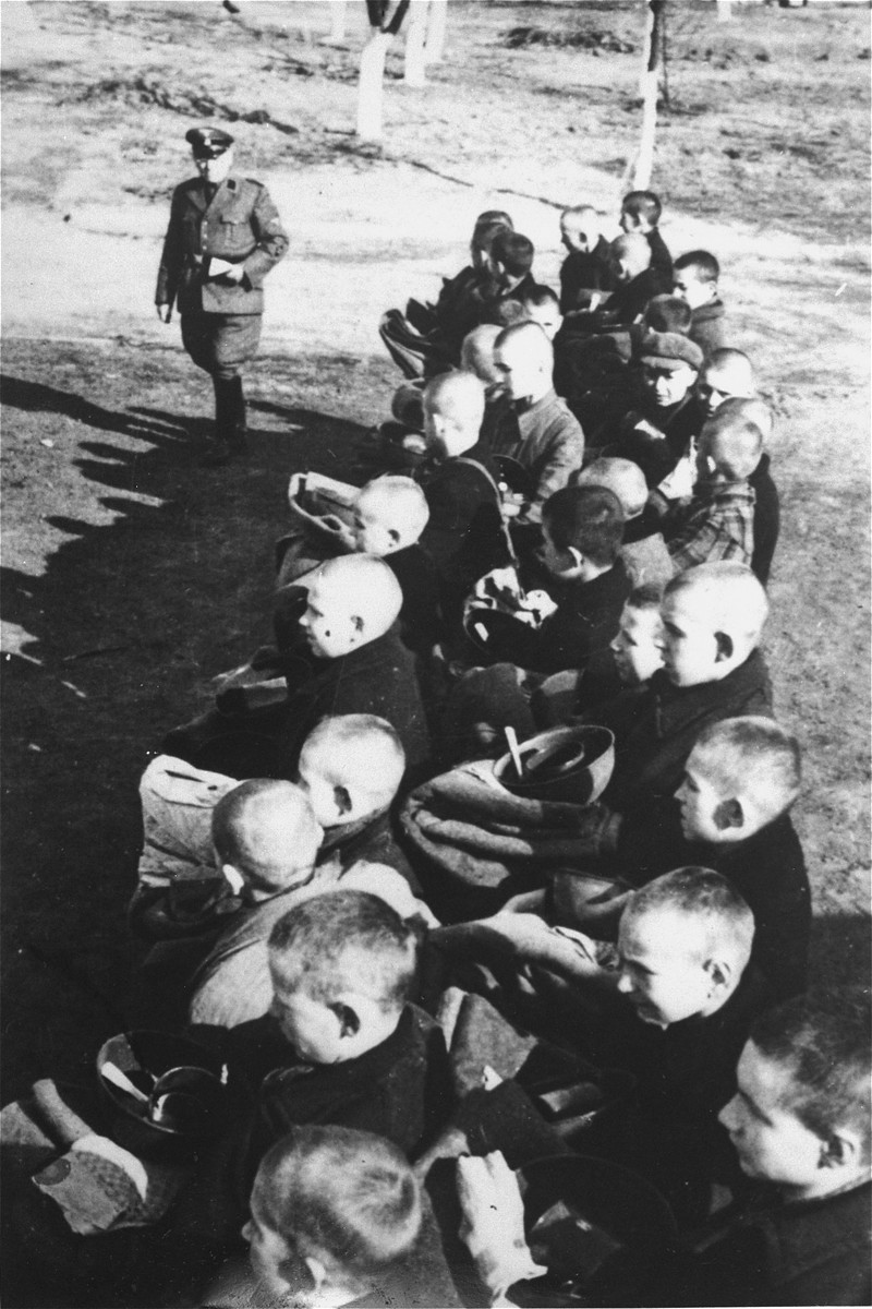 Roll call of Polish children in forced labor concentration camp for children and youth in Lodz, Dzierzaznia, in Przemyslowa Street.