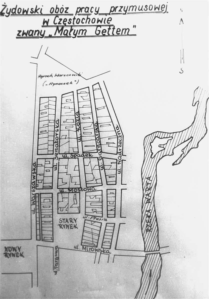 "Map of the ""small"" ghetto in Czestochowa."