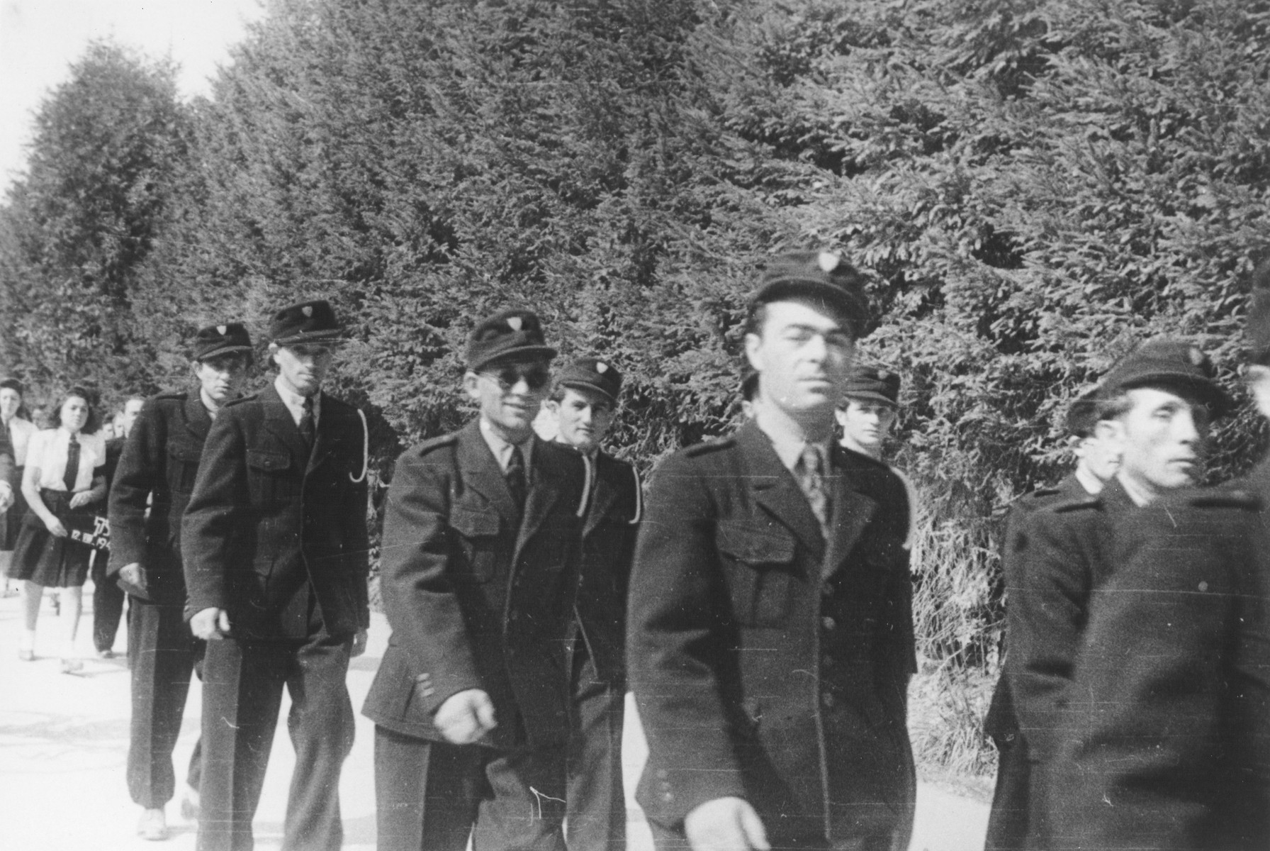 Jewish police march in a parade in the Feldafing DP camp.