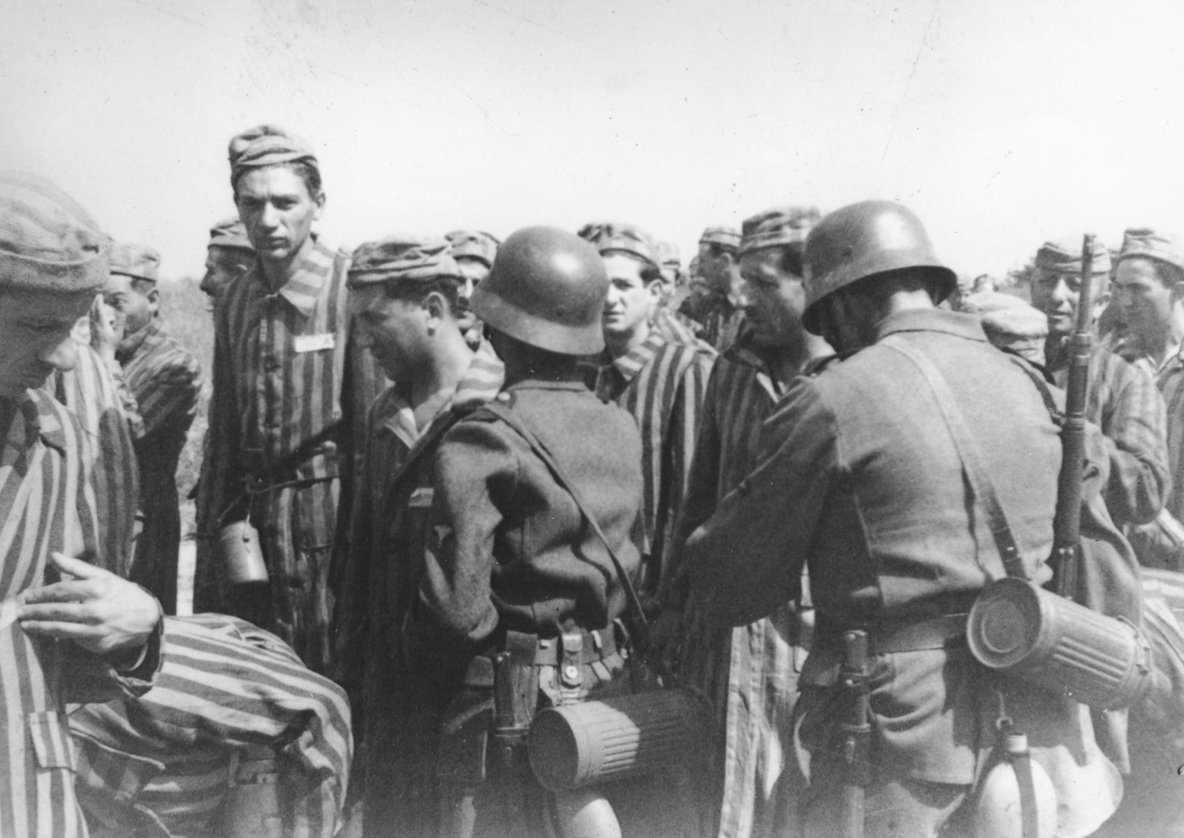 Newly liberated prisoners with German soldiers in either Mauthausen or the Gunskirchen sub-camp.  Pictured standing second from the left facing the camera is Tibor Weinberger.