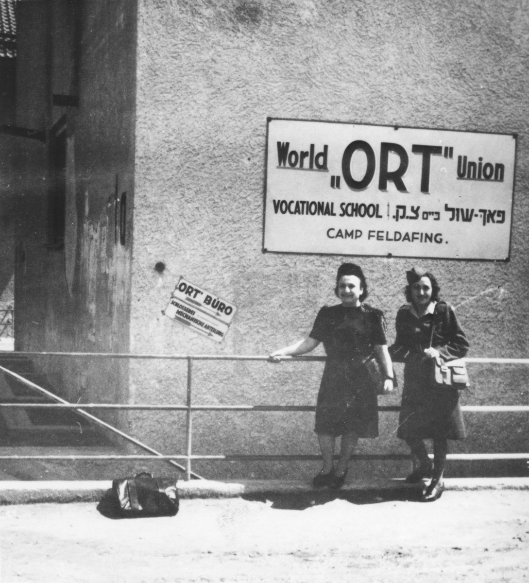 Two women stand outside the ORT vocational school in the Feldafing displaced persons' camp.