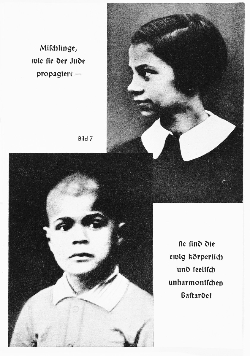 "Nazi propaganda racial portraits of a half-Jewish girl and boy.  The original caption reads: ""Mischlinge (half-Jewish), -- as the Jew breeds, they are always physical and spiritual bastards."""