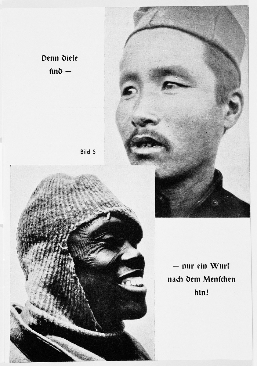 """Nazi propaganda racial portraits of non-Aryans; the top portrait is of an Asian; the bottom is of an African.  The original caption reads: """"Then these are barely recognizable as human beings."""""""