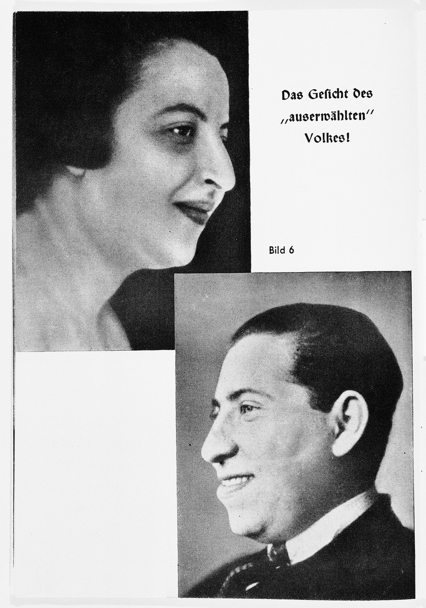 "Nazi propaganda racial portraits of a Jewish man and woman.  The original caption reads: ""The face of the 'chosen' people."""