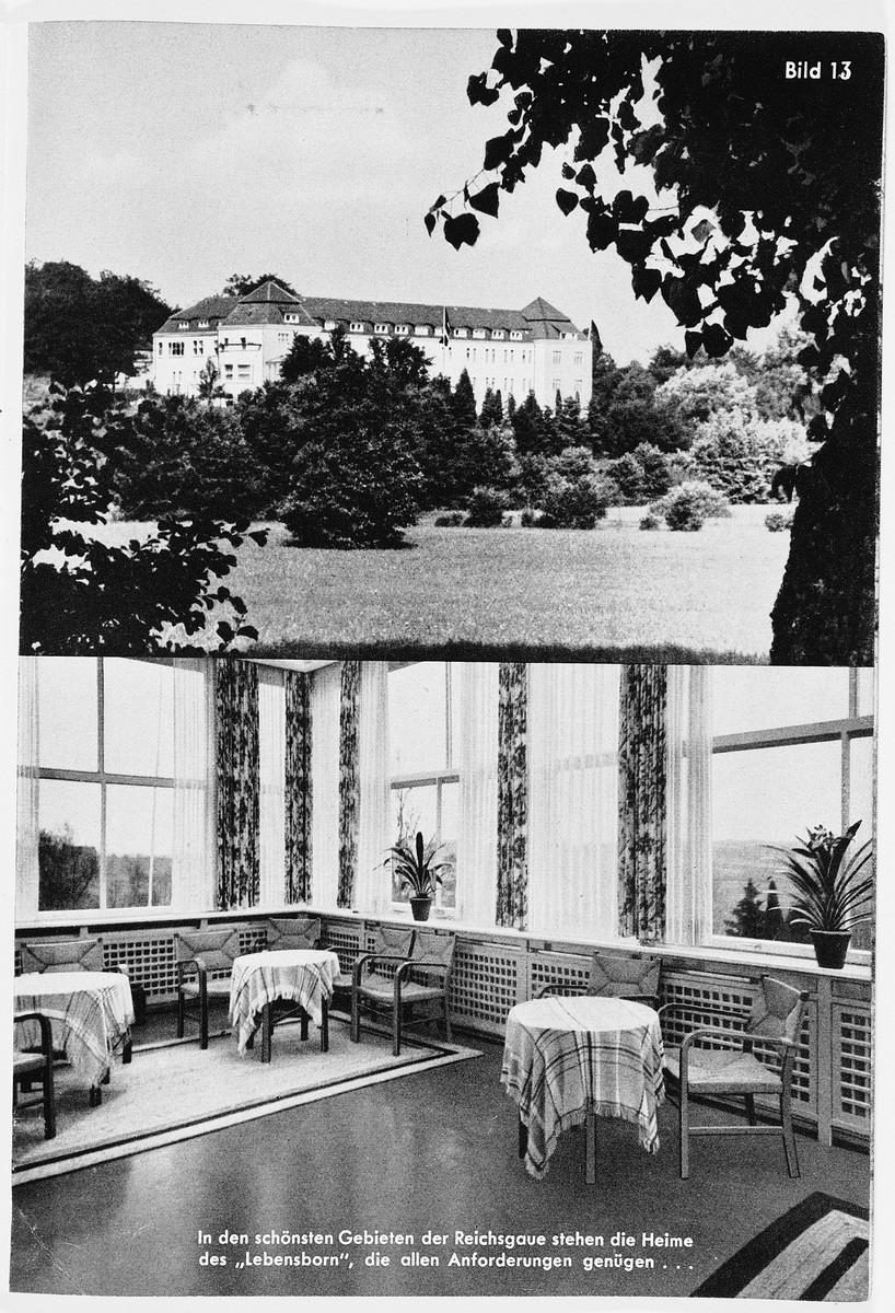 Exterior and interior views of a Lebensborn home.