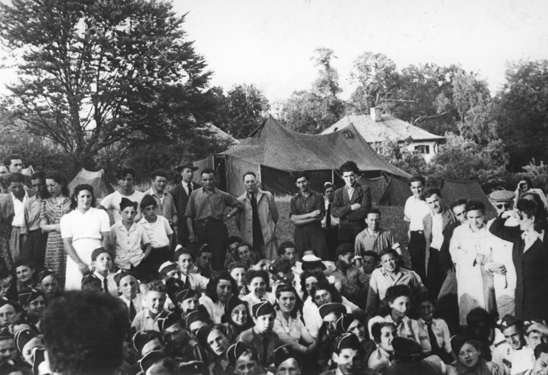 Children and staff at a Betar summer camp in the Feldafing DP camp.