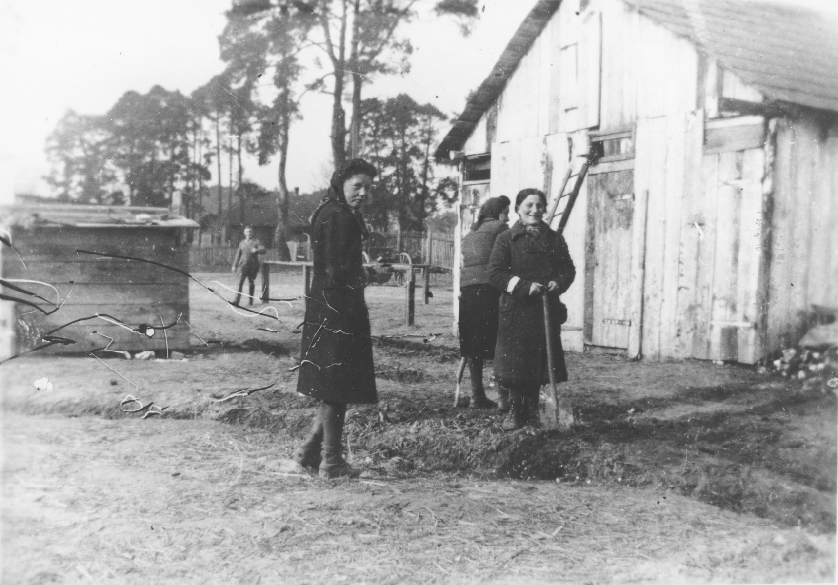 Jewish women wearing armbands dig in a garden of an unidentified ghetto while a German soldier stands in the background..