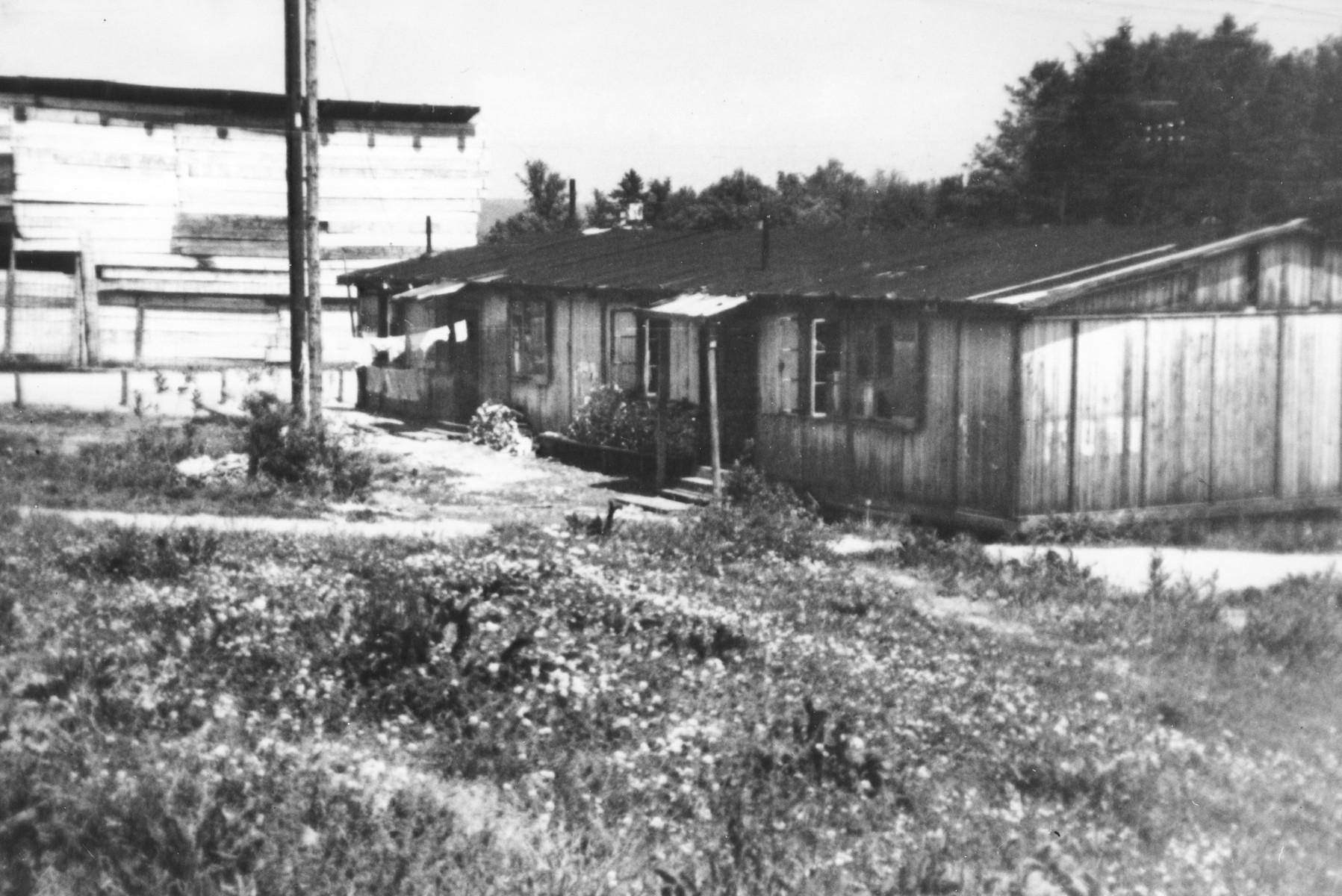 Exterior view of the barracks which served as living quarters in the Feldafing DP camp.