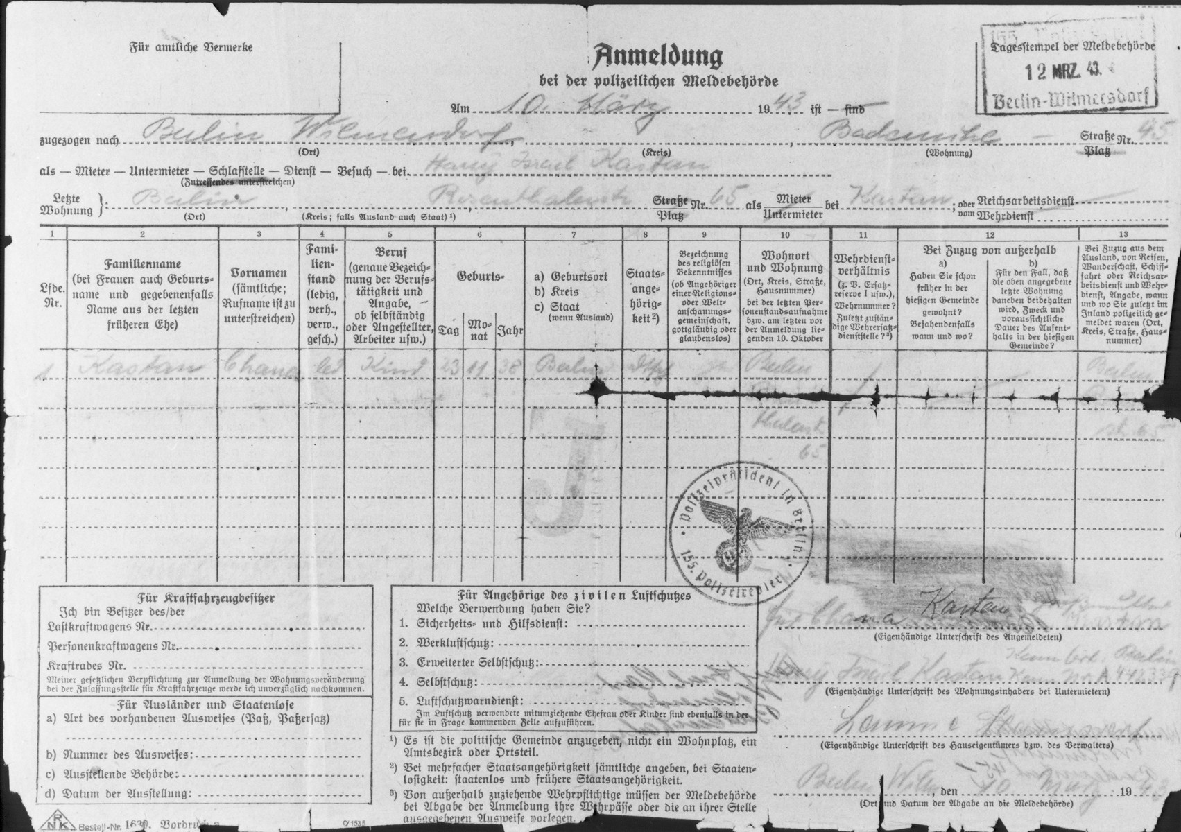 Police registration form issued by the Police Registration Authority and filled out on March 10, 1943 for the child, Hannah Kastan (b. November 23, 1938), the daughter of Harry Israel Kastan, residing in Berlin-Wilmersdorf.