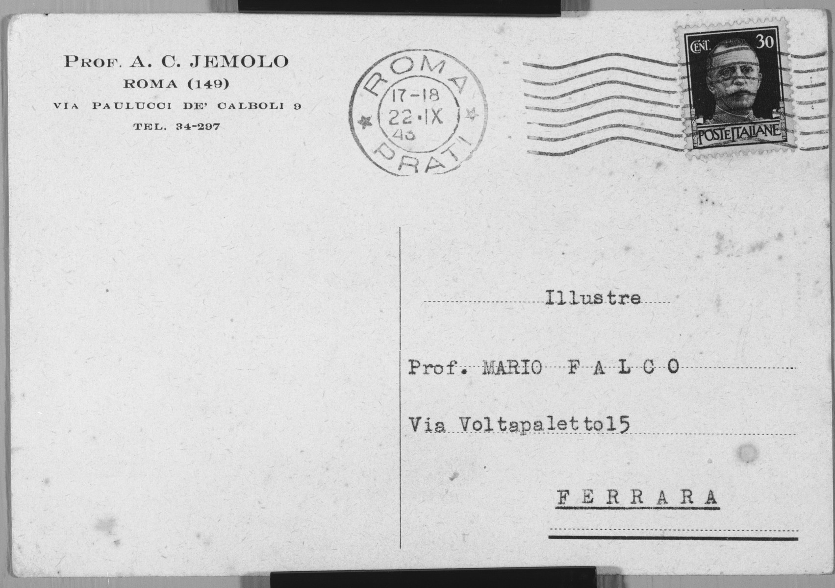 Postcard from Arturo Carlo Jemolo to the Falco family letting them know in coded language that they can hide in his home.