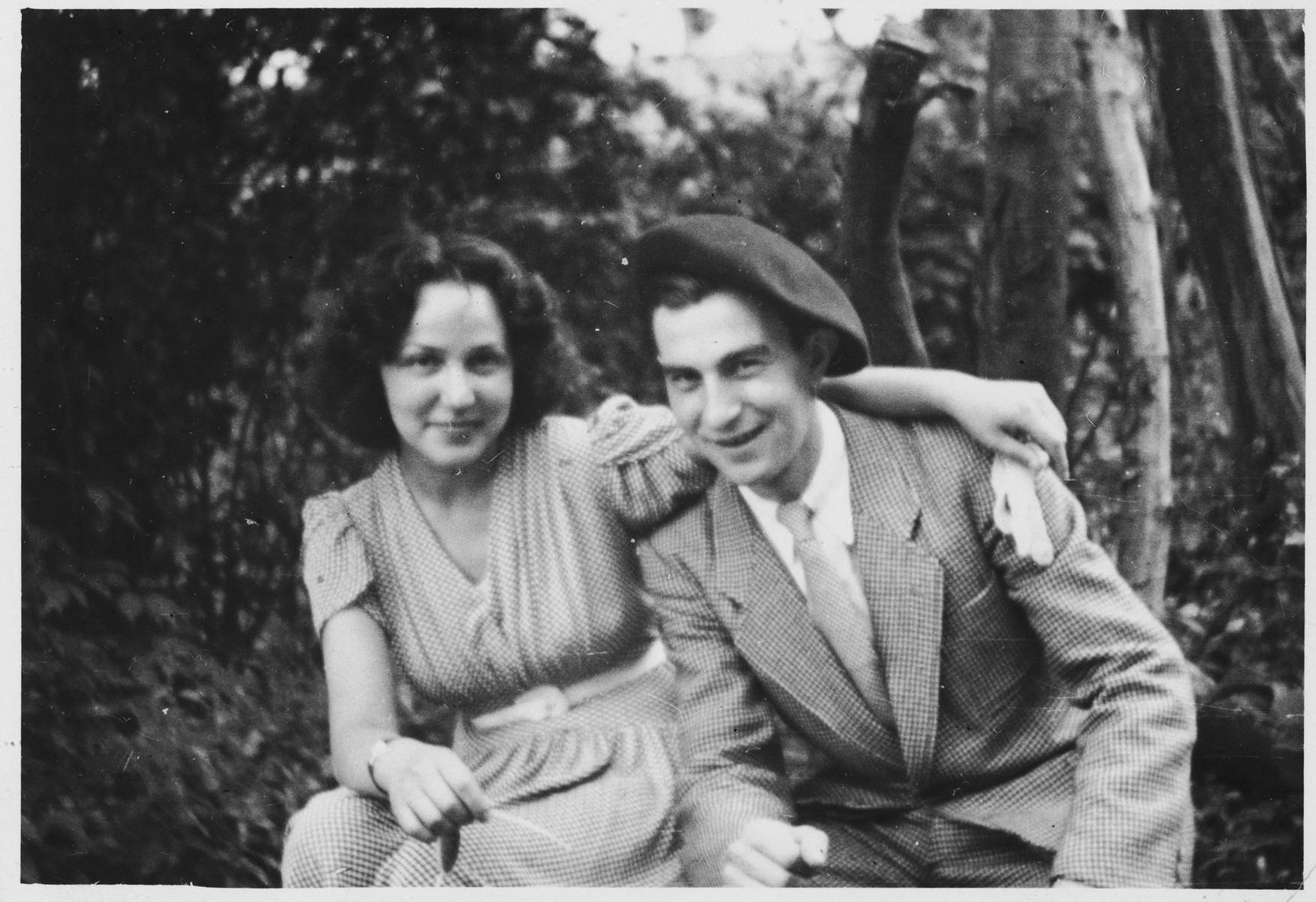 A young Jewish couple who lent assistance to the French Jewish resistance group Armée Juive, pose in the forest.  Pictured are Rabbi Paul Roitman with his fiancee Lea.