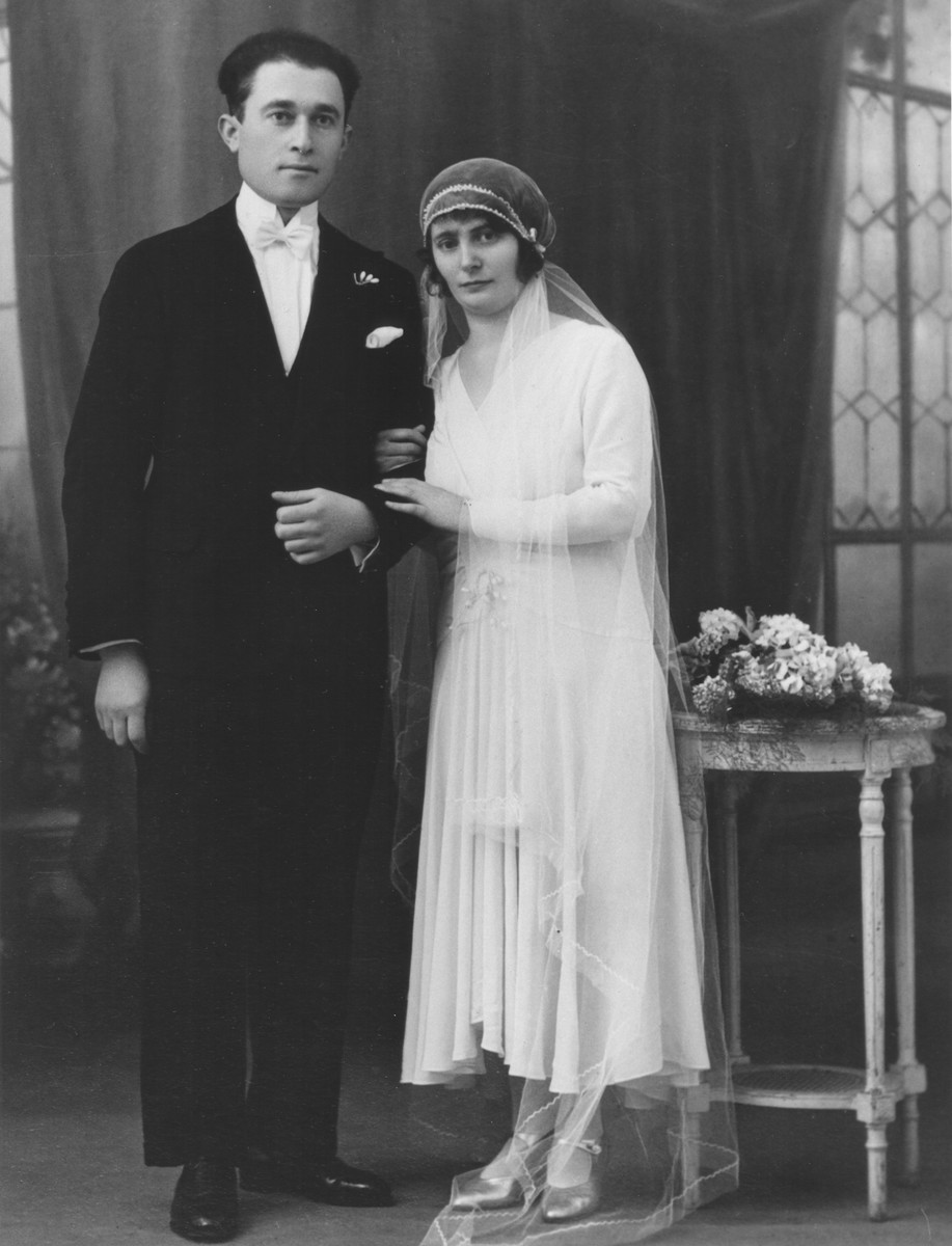Wedding portrait in prewar France.