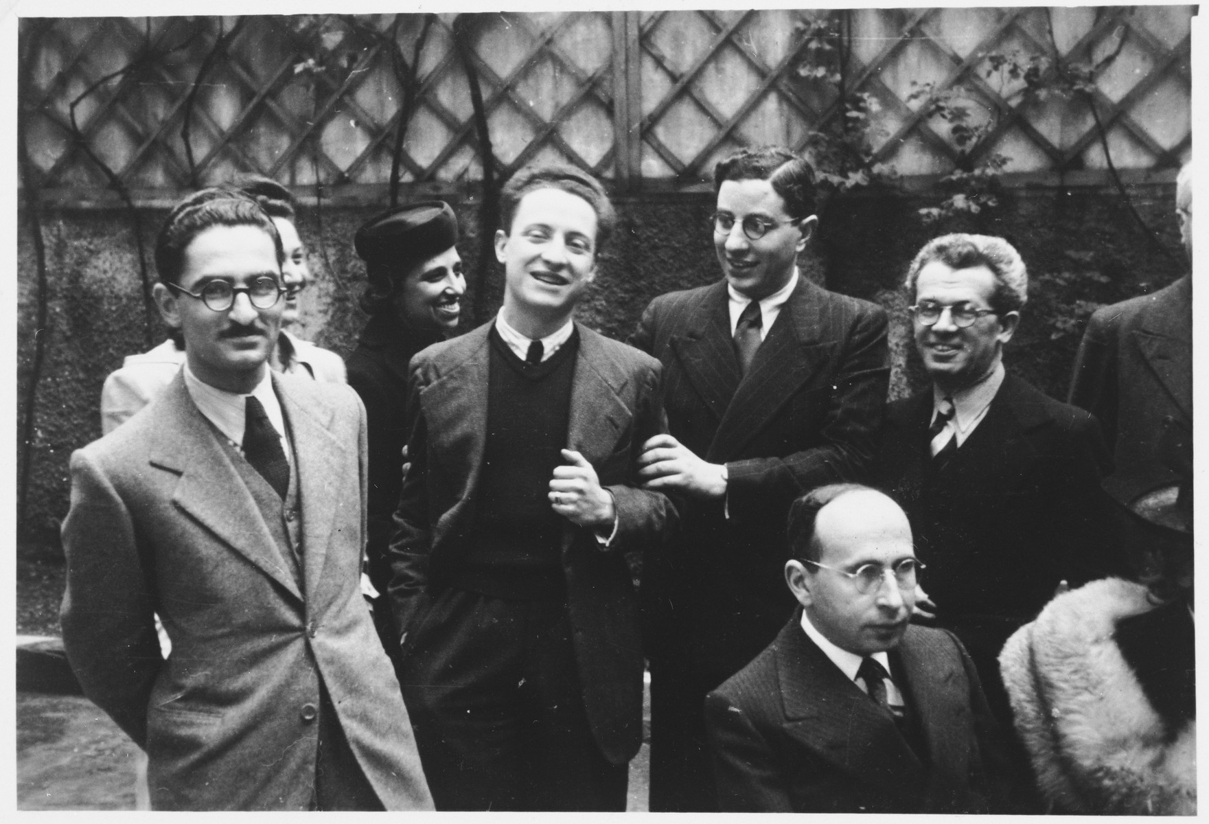 Faculty of the Jewish high school in Milan.  Included right to left are Professor Foa, Rabbi Nathan Cassuto and Professor Tedeschi, all of whom were deported to Auschwitz and perished there.  The third woman in the back (hard to see) is Marta Bernstein Navarra.  On the far left is Dr. Marcello Cantoni, the school doctor.  At the bottom right is Dr. Norsa, professor of philosophy.
