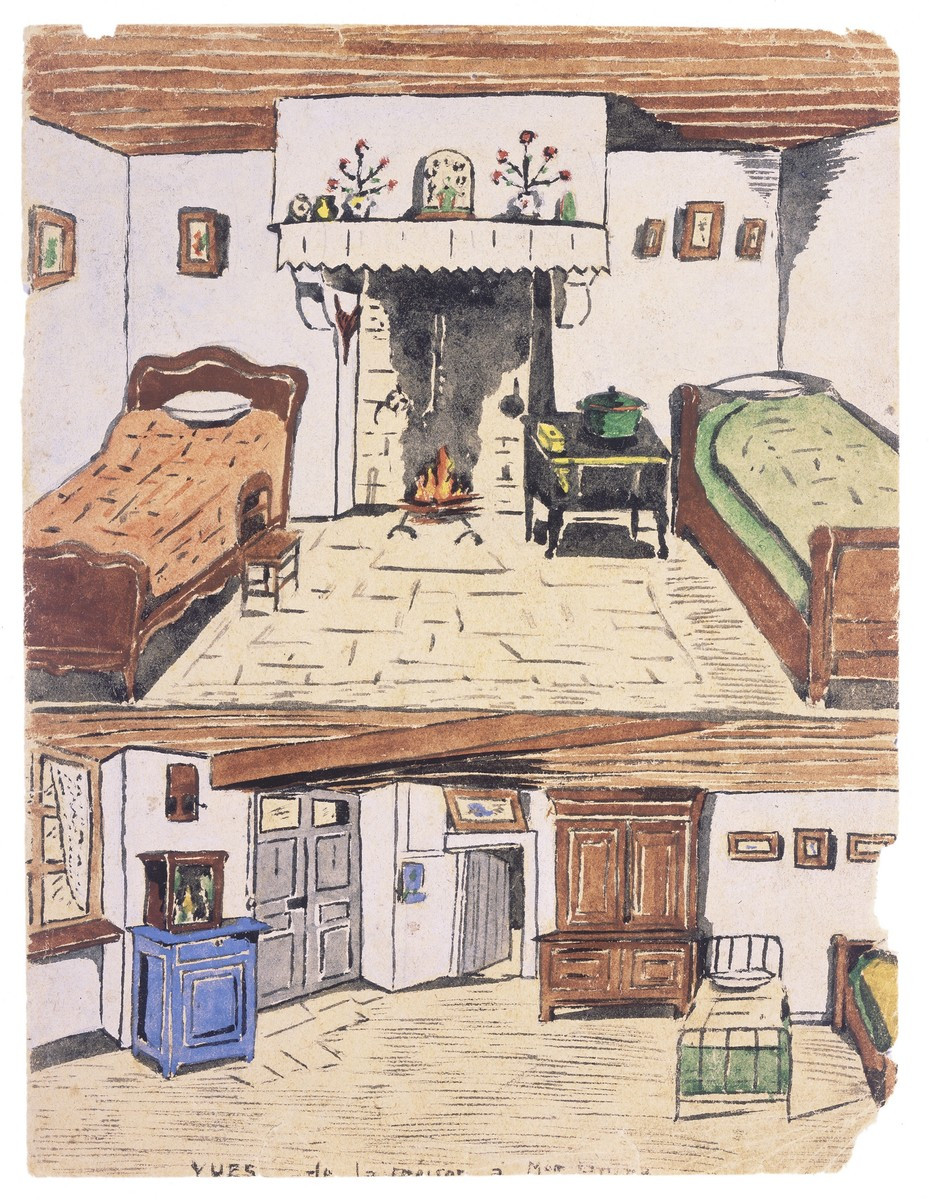 Two watercolor paintings by Simon Jeruchim depicting the home of his rescuer, Madame Prim.    Above is the room where the artist slept.  He shared the room with Madame Prim.  He slept on the right, and she on the left.  She was very arthritic and needed the chair to help her get in and out of bed.  The floors were made of dirt, and a few slate tiles were kept on the floor near the fireplace for cooking.  Here they made soup and stews from potatoes.  On the mantel and on either side of the fireplace are depictions of saints.  The bottom painting shows the other side of the room where the younger children slept.