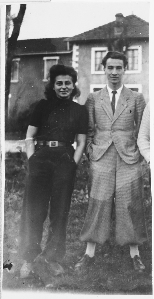 A young Jewish couple who is active in the French Jewish resistance pose immediately after liberation.  Pictured are Sabine Einhorn and her fiance, Leon Roitman, both members of the Armée Juive active in their rescue activities.