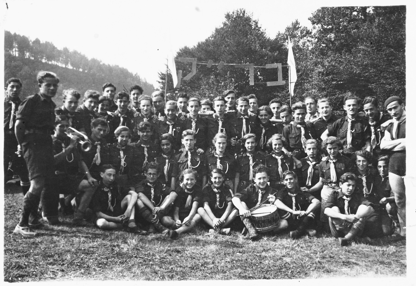 Group portrait of members of the Brit Kanaim (covenant of zealots), a revisionist Zionist youth movement that split off from Betar, in Antwerp, Belgium.  Among those pictured is Meir Grossman.