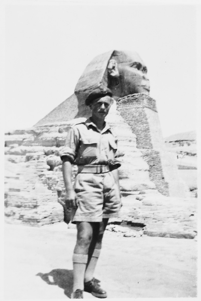 Jewish refugee Arthur Einhorn visits the Sphinx while in Egypt training for the British army.