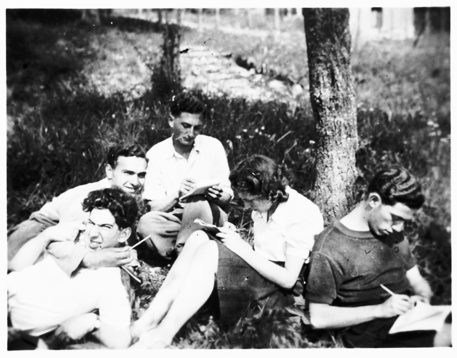 Members of the French Jewish resistance group Armée Juive, relax outside at their training camp in the Alps.  Among those pictured are Haim Hassid (alias Henri Flammant, bottom left), Georges Schneck (above Hassid), and Ado Michaelowicz (right).