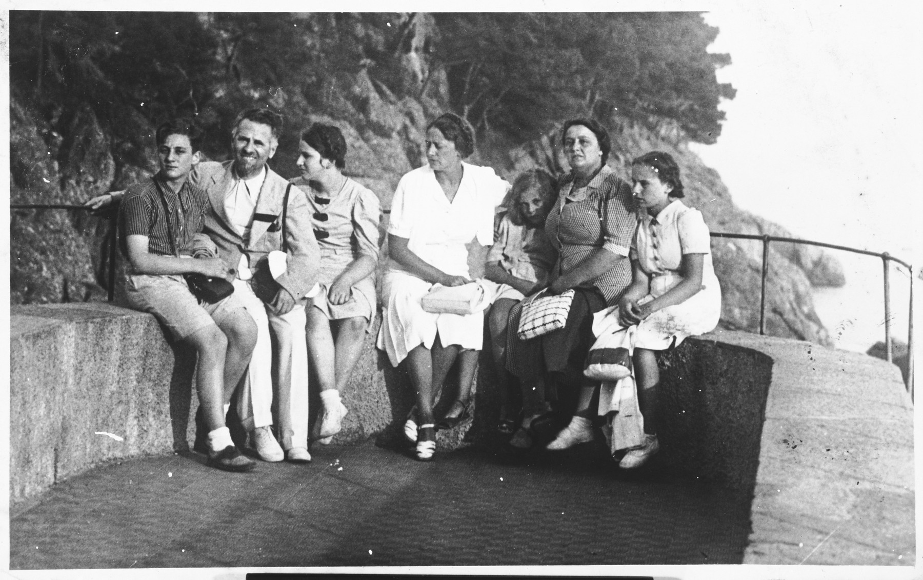 The Jemolo family visits the Falcos at their summer home in Portofino.  The Jemolos later rescued Mrs. Falco and her two daughters.  From left to right are Guglielmo Luigi Jemolo, Mario Falco, Adele Maria Jemolo, Germana Ravenna, Graziella Falco, Gabriella Falco, Anna Marcella Falco.