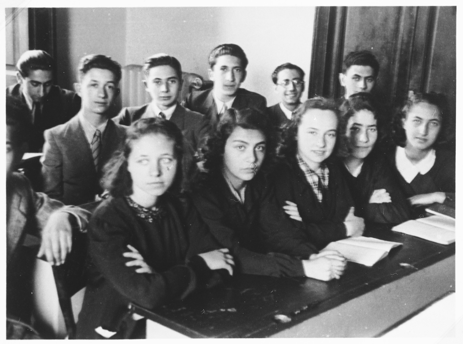 Students in the Jewish high school in Milan.