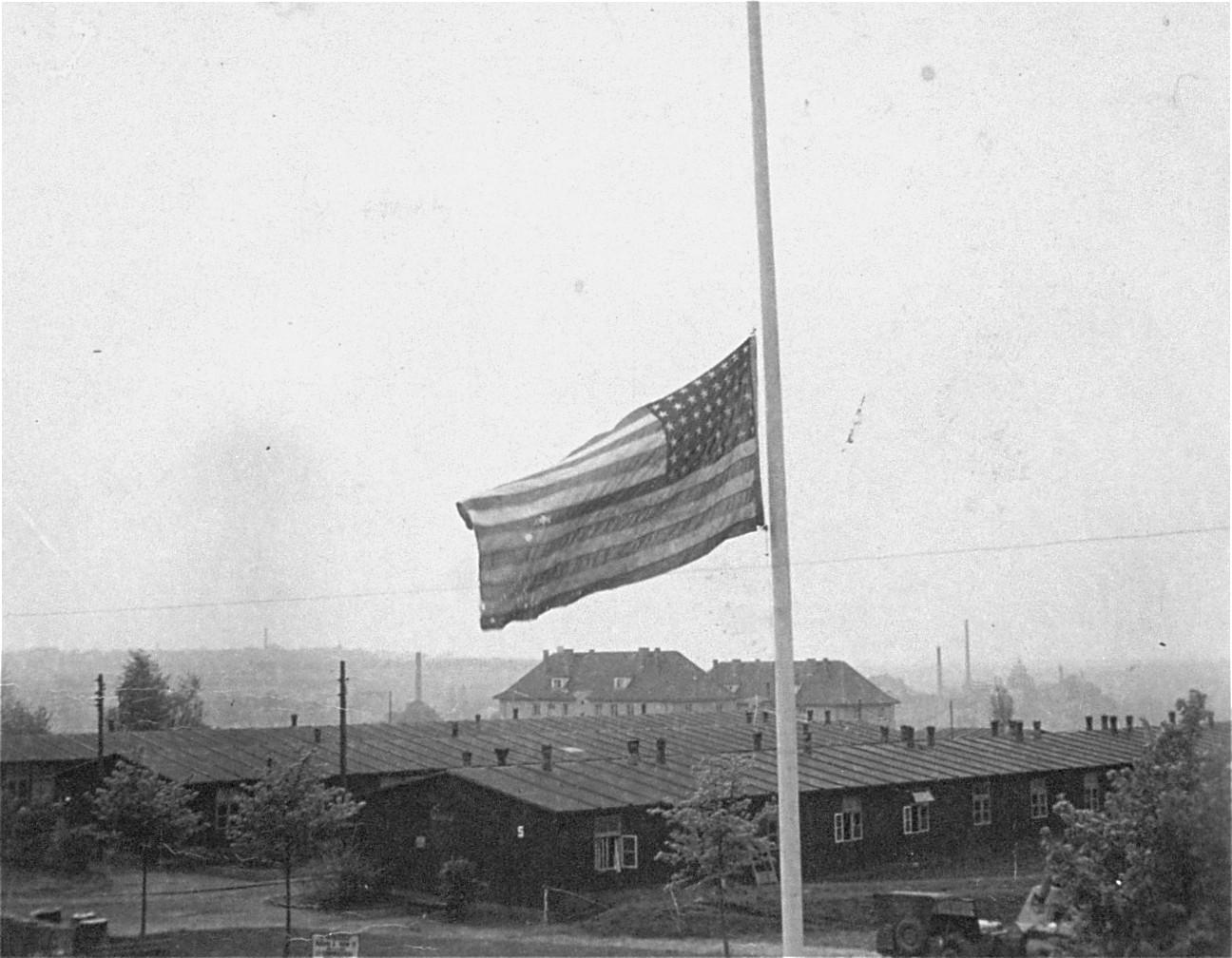 The American flag flying at half mast in Buchenwald.