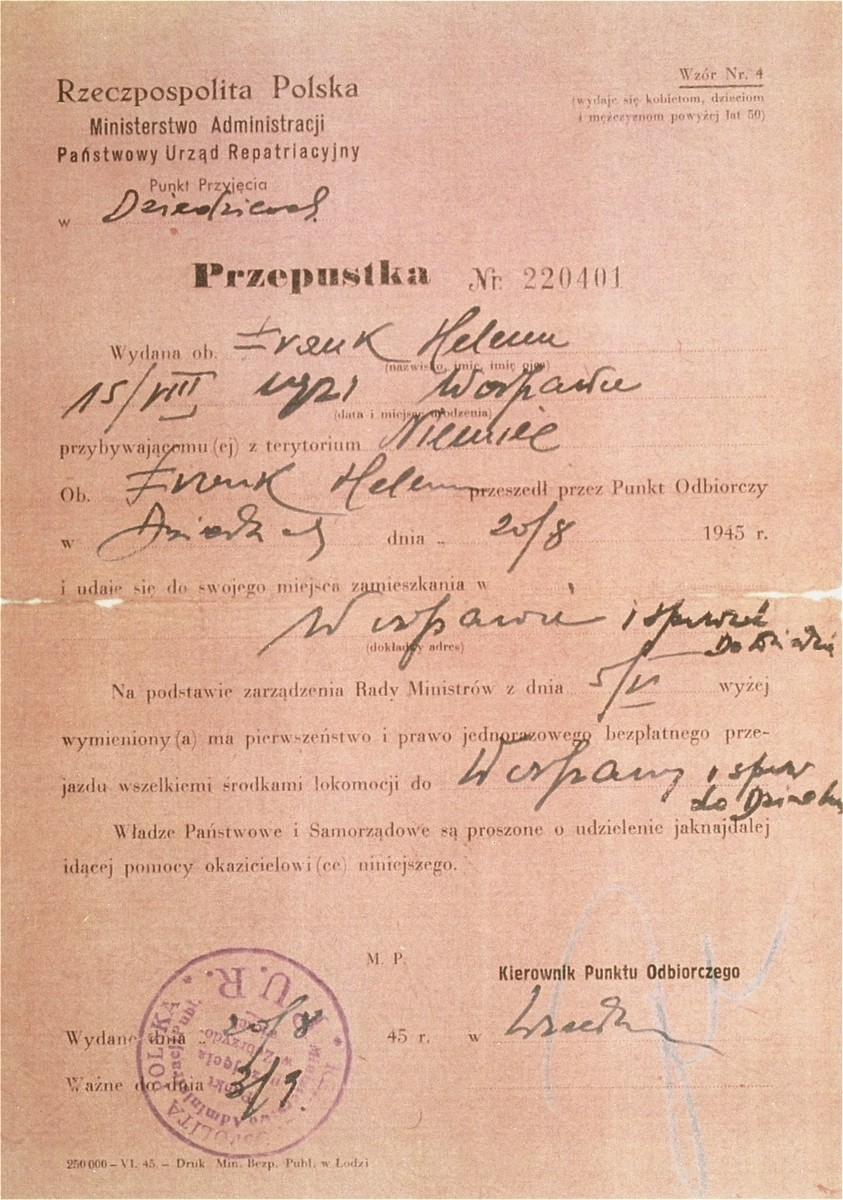 Document stating that Hela Frank, a resident of Bergen-Belsen DP camp, passed the border into Poland on August 20, 1945, to search for living relatives.  The document entitles her to free travel.