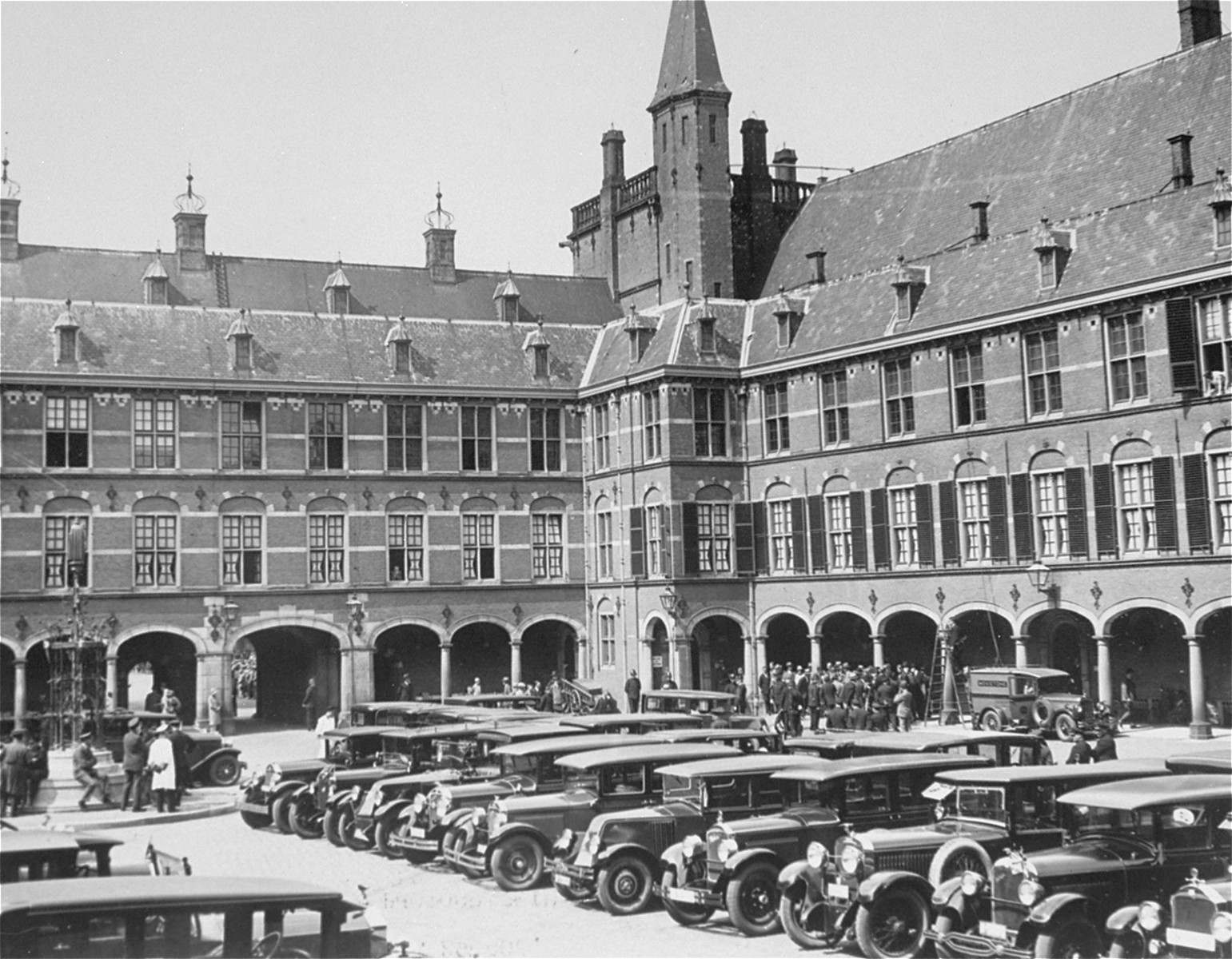 Exterior view of the palace at the Hague, Netherlands.