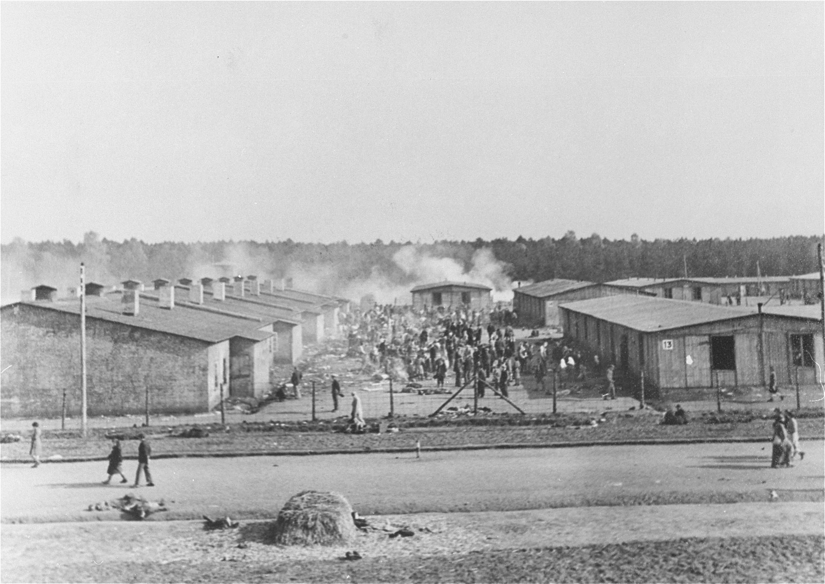 View of Bergen-Belsen concentration camp after liberation.