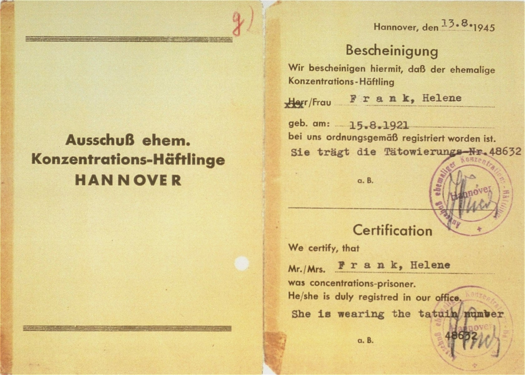 Document stating that Hela Frank, a resident of Bergen-Belsen DP camp, was a concentration camp prisoner, number 48632.    This document served as a temporary passport, giving Hela permission to leave the DP camp and travel to Warsaw to look for family.  It also distinguished her from a repatriate, permitting her to return to the British zone of Germany after her trip to Poland.
