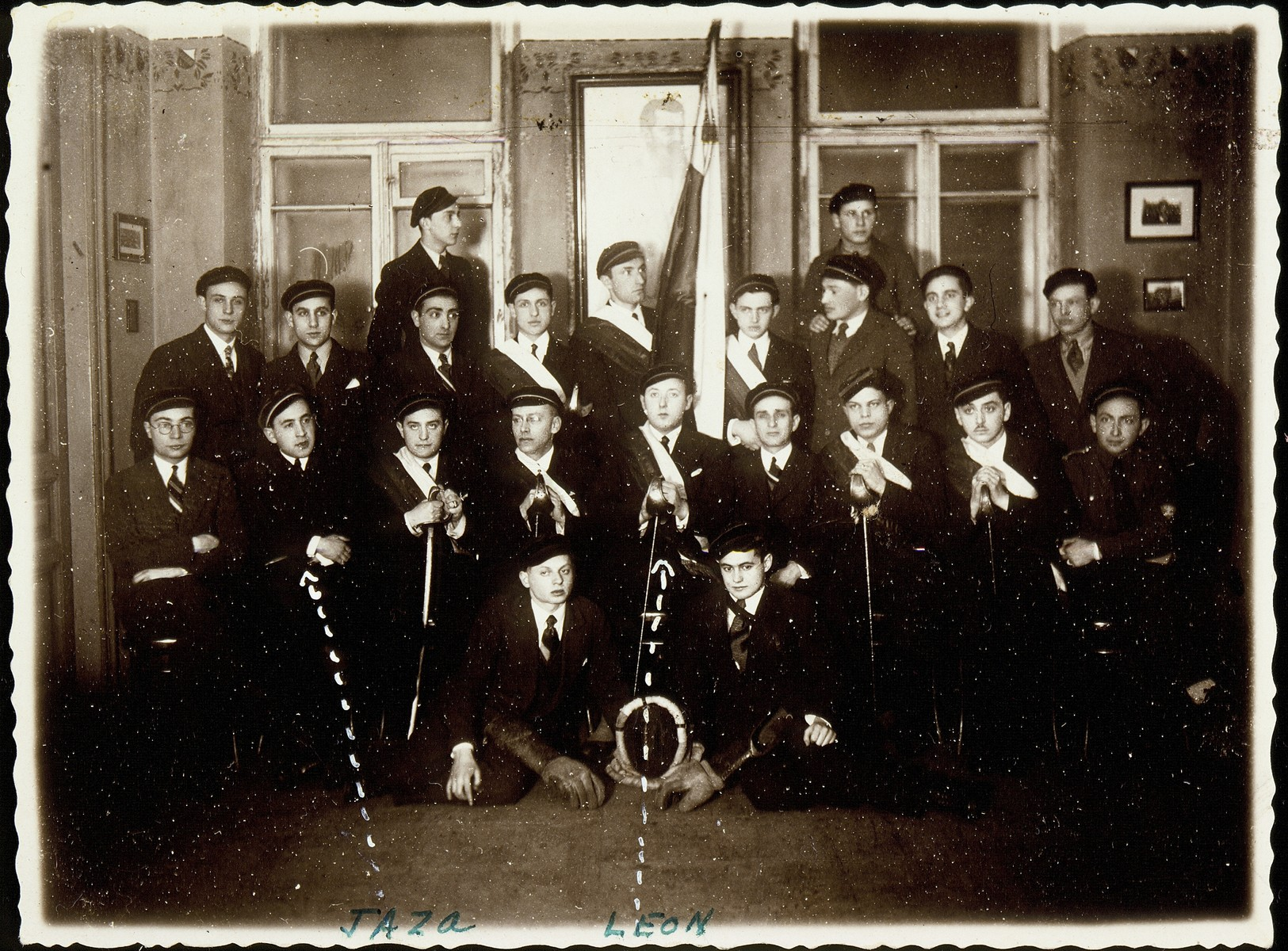 Members of the Jewish medical student fraternity at Vilna University.  Jews were excluded from the Polish student fraternity and therefore formed their own.  Among those pictured are Jasza Saposnikow, son of Sonia Saposnikow (middle row, second from the left), Leon Gordon  (middle row, fifth from the left), Yehoshua Fishman (middle row, far right).  Both Jasza and Leon perished during the Holocaust.