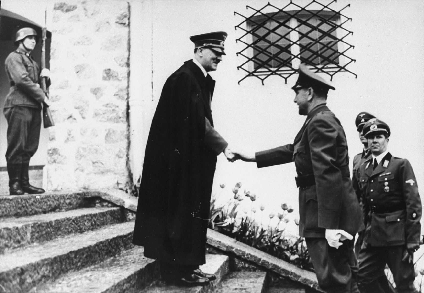 Adolf Hitler greets Ante Pavelic, leader of the Croatian puppet state, upon his arrival at the Berghof for a state visit.