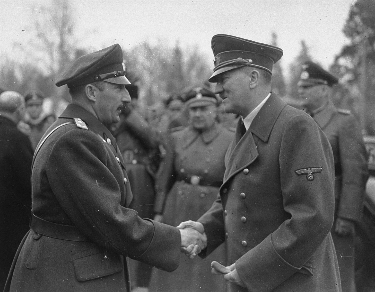 Adolf Hitler greets King Boris of Bulgaria on the occasion of the king's visit to Germany.