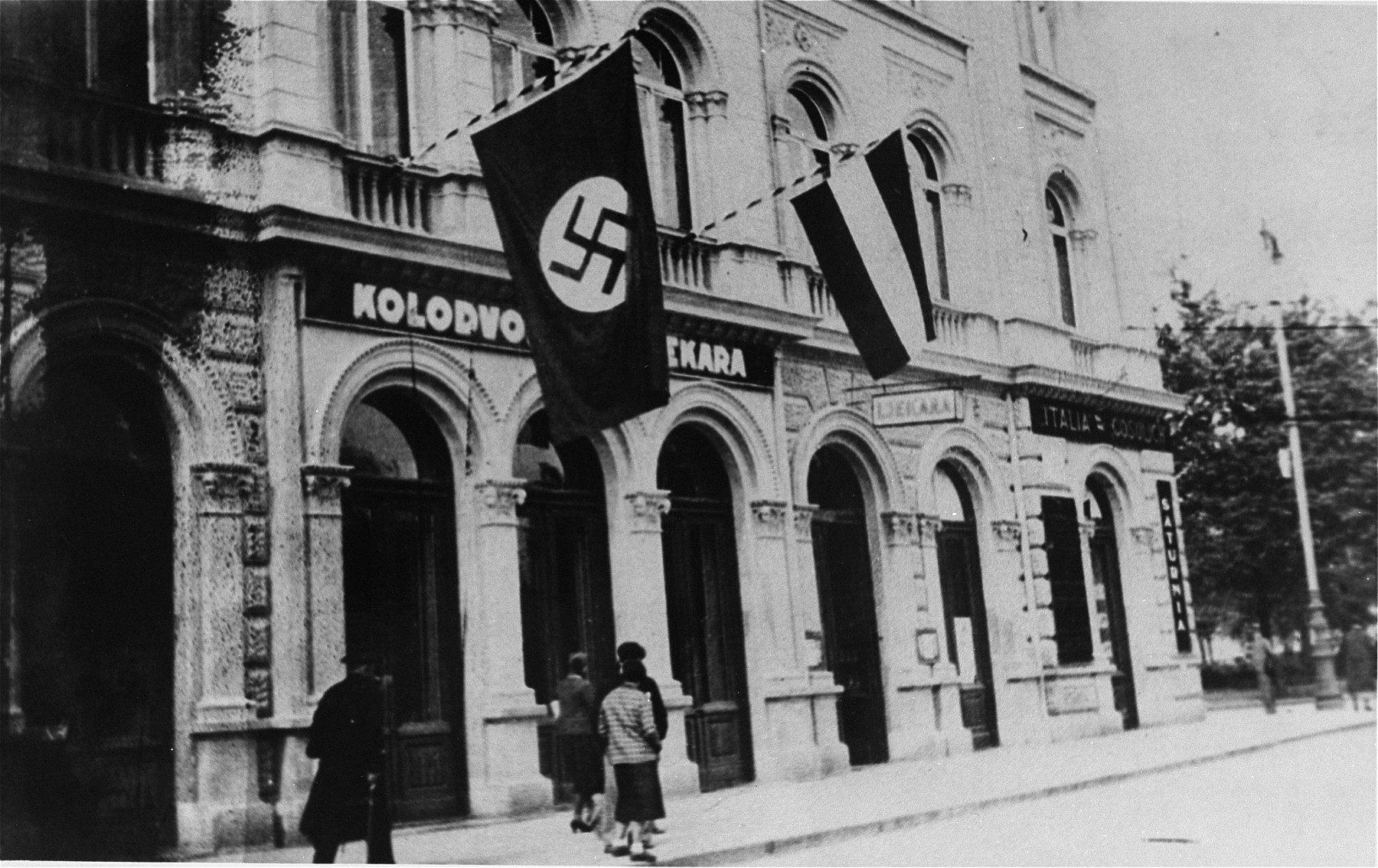 A Nazi flag flies over the German consulate in Zagreb.