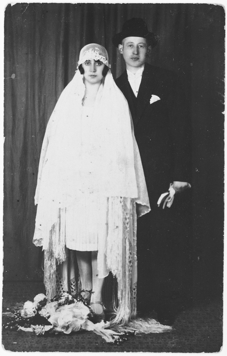 Wedding portrait of Terry Helperin and her husband [Isza].  They are relatives of the donor's husband.