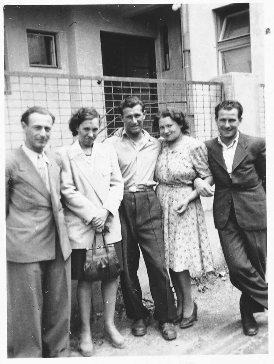 Jewish survivors in Cluj.  Ella Negoianu is pictured second from the left.
