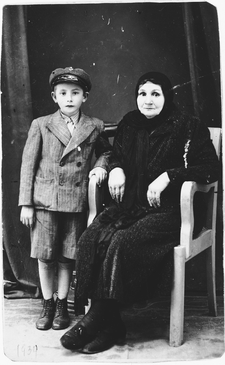 Portrait of Lina Farkas (the donor's grandmother) and her grandson, Samy Fried.  They both were killed in Auschwitz on May 29, 1944.