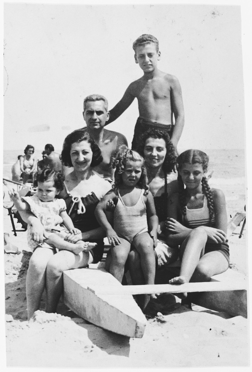 Paola Foa enjoys a day on the beach with her children and sister's family.  This was the last meeting between Paola and her sister Marina.